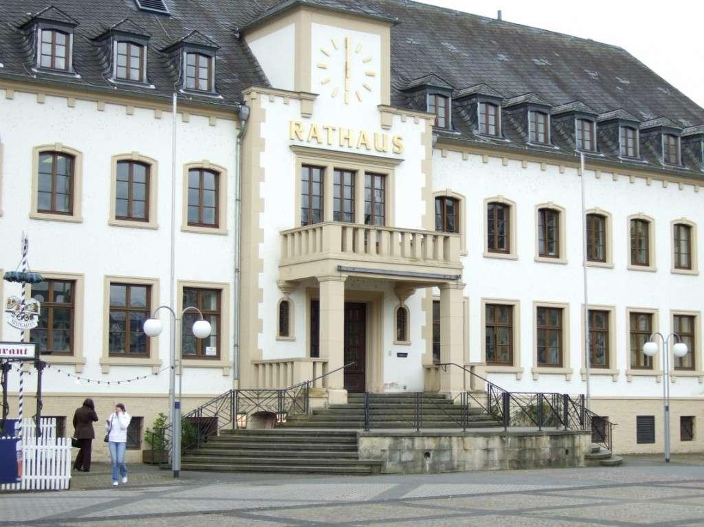 Rathauseingang mit Treppe